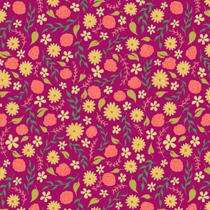 Yellow Daisy and Rose Ditsy Floral on Fuchsia