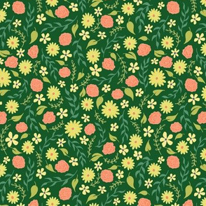 Yellow Daisy and Rose Floral Ditsy on Green