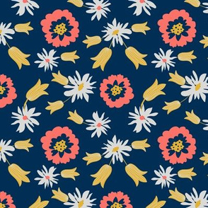 flowers -navy
