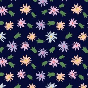 flowers -navy blue