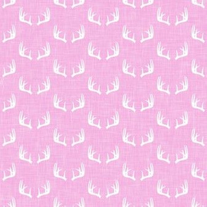 antlers on light pink linen || micro scale C18BS