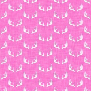 antlers on pink linen || micro scale C18BS