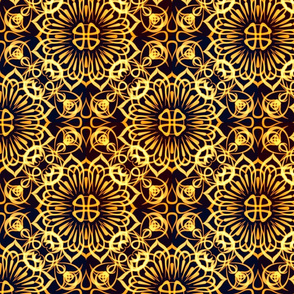 Gold Glow Flower Sketched Tile