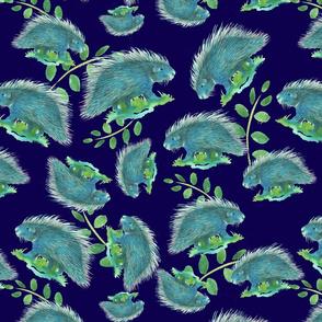 Blueporcupine dark blue bg