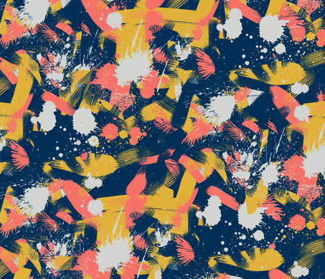 Energetic Splashy Abstraction in Living Coral fabric by charissapray on Spoonflower - custom fabric