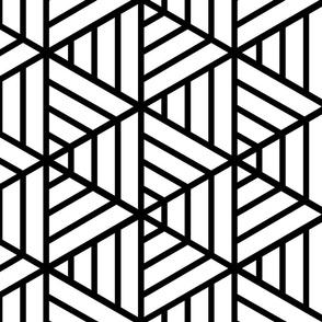 Black and White Isometric Geometric Pattern
