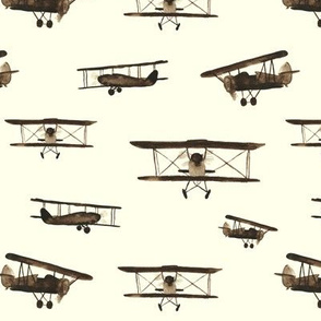 Retro airplanes, bigger scale || watercolor sepia pattern for boys
