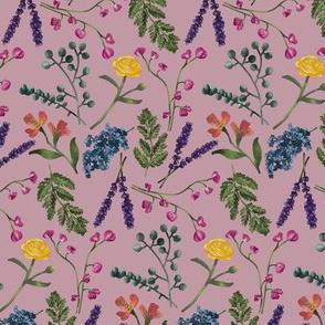 Botanical Pattern Dusty Rose