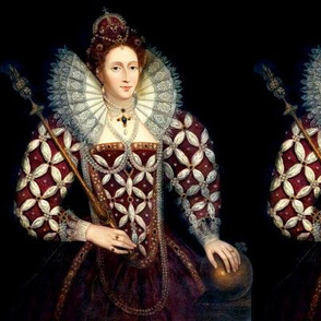 Queen Elizabeth 1 princesses Queens renaissance Tudor big lace ruff collar baroque pearls maroon red gown crowns tiaras England scepter orb globus cruciger mutton sleeves puffy sleeves Britain beauty Elizabethan era 16th century 17th century historical em