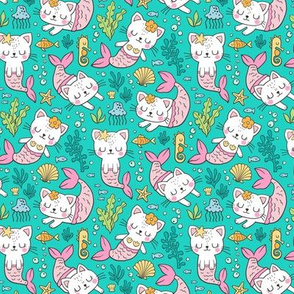 Purrmaids Cats Mermaids  Sea Doodle on Teal  Green 50% Smaller