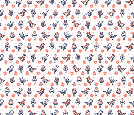 Hand drawn coral blue spring daisy with cute birds fabric by limolida on Spoonflower - custom fabric