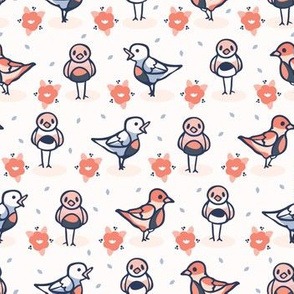 Hand drawn coral blue spring daisy with cute birds