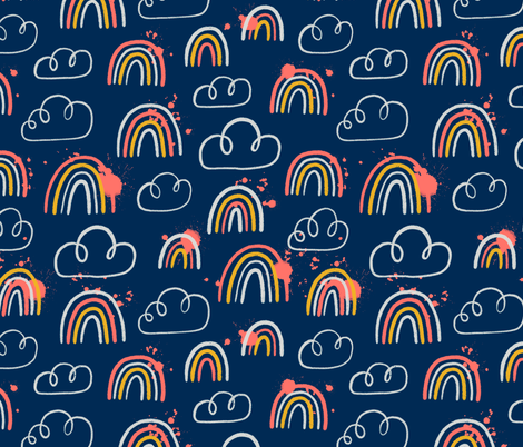 Rainbows and clouds seamless pattern fabric by stolenpencil on Spoonflower - custom fabric
