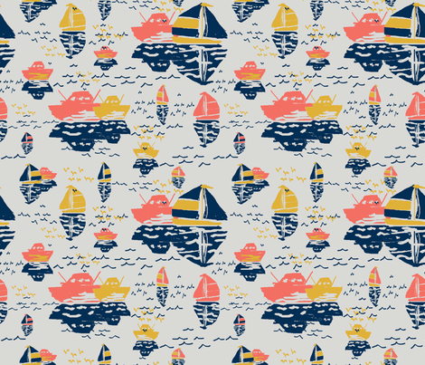 Boats Best with Gulls fabric by lorloves_design on Spoonflower - custom fabric