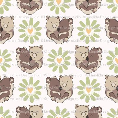 Vector bear hug animals with daisy heart flower