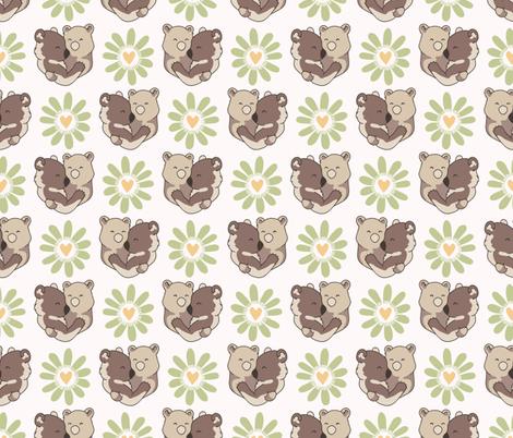 Vector bear hug animals with daisy heart flower fabric by limolida on Spoonflower - custom fabric