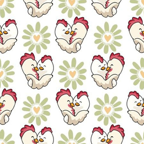 Vector chick hug daisy heart flower