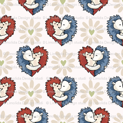 Vector cute hedgehog hug hearts. Seamless repeat pattern