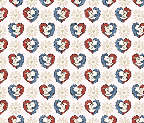 Vector cute hedgehog hug hearts. Seamless repeat pattern fabric by limolida on Spoonflower - custom fabric