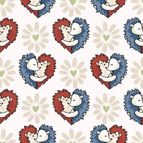 Vector cute hedgehog hug hearts. Seamless repeat pattern