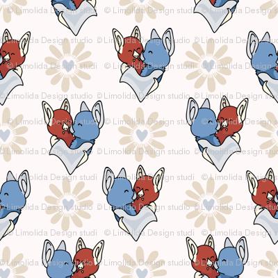 Vector cute bat hug daisy flower hearts