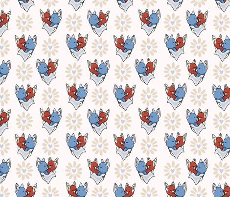 Vector cute bat hug daisy flower hearts fabric by limolida on Spoonflower - custom fabric