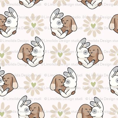 Vector cute bunny hug daisy love hearts