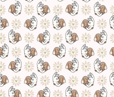 Vector cute bunny hug daisy love hearts fabric by limolida on Spoonflower - custom fabric