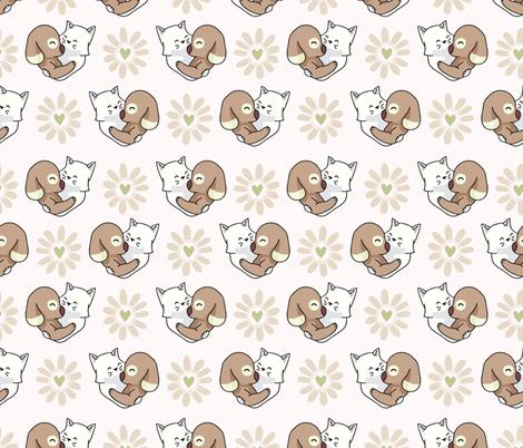 Vector cute cat dog hug hearts Seamless repeat pattern fabric by limolida on Spoonflower - custom fabric
