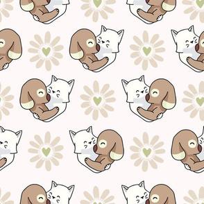 Vector cute cat dog hug hearts Seamless repeat pattern