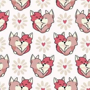 Vector cute fox hug hearts. Seamless repeat pattern