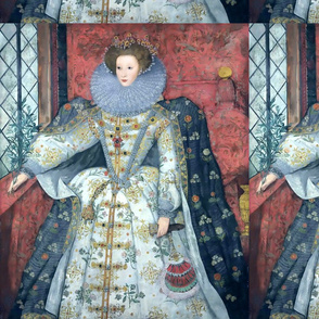 Queen Elizabeth 1 inspired princesses Queens renaissance Tudor big lace ruff collar baroque pearls white gown crowns tiaras cape England fans window flowers floral rubies ruby mutton sleeves puffy sleeves Britain beauty Elizabethan era 16th century 17th c