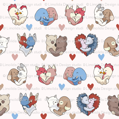 Vector cute animal hug hearts