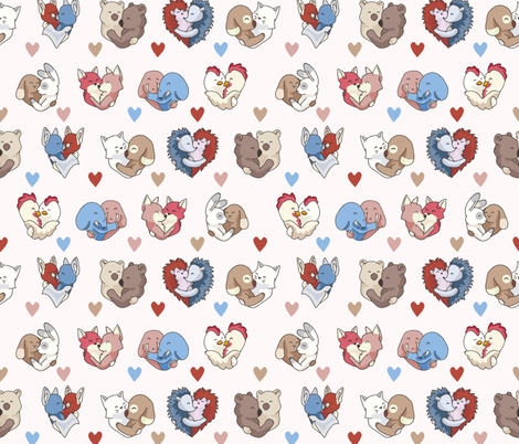 Vector cute animal hug hearts fabric by limolida on Spoonflower - custom fabric
