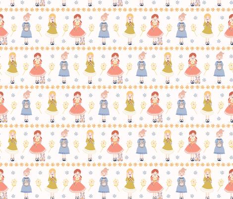 Cute vector cartoon girl illustration  holding Easter bunny fabric by limolida on Spoonflower - custom fabric