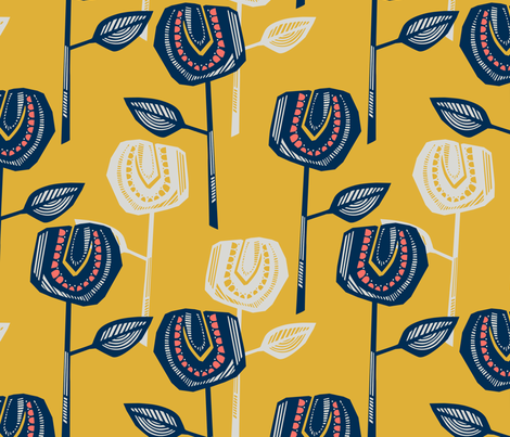 Retro Stems fabric by gillegglestontextiles on Spoonflower - custom fabric