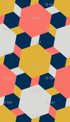 08432252 : hexagon2to1 : coral + goldenrod