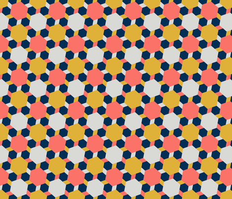 08432252 : hexagon2to1 : coral + goldenrod fabric by sef on Spoonflower - custom fabric