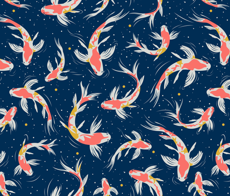 Koi Fishes in the Water fabric by matise on Spoonflower - custom fabric
