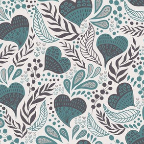 Floral Hearts Day in Gray Teal V.02