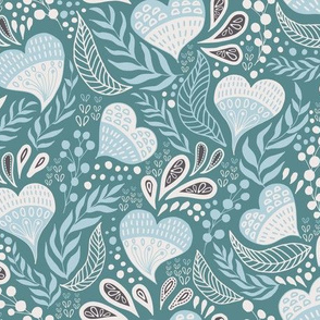 Floral Hearts Day in Teal Blue V.01