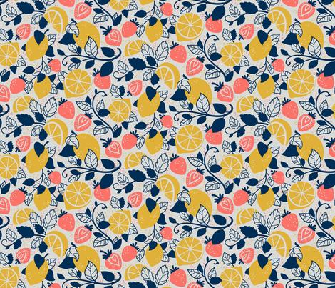Lemons and Strawberries fabric by abbilaura on Spoonflower - custom fabric