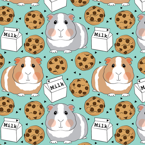 guinea-pigs-with-milk-and-cookies fabric by lilcubby on Spoonflower - custom fabric