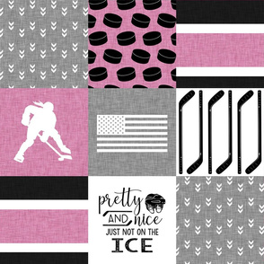 Women's Hockey//USA//Pretty & Nice//Pink - Wholecloth Cheater Quilt