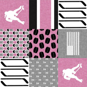 Women's Hockey//USA//Pretty & Nice//Pink - Wholecloth Cheater Quilt - Rotated