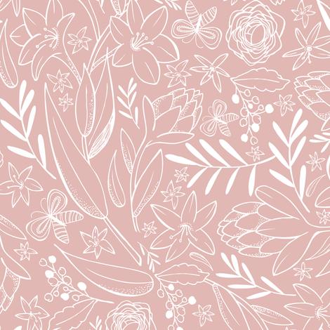 Botanical Sketchbook Dusty Pink Wallpaper Heatherdutton