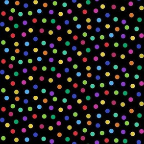tiny rainbow confetti dots on black