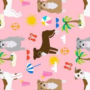 pitbull beach summer dog breed pet lover pibbles fabric pink