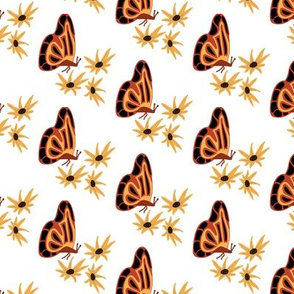 Orange and Black Butterflies with Gold Flowers
