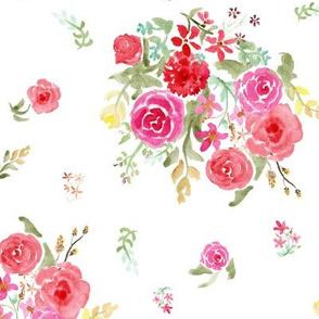 Vintage roses on white